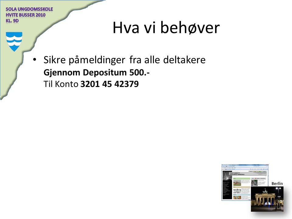 Hva vi behøver Sikre påmeldinger fra alle deltakere Gjennom Depositum 500.- Til Konto 3201 45 42379.