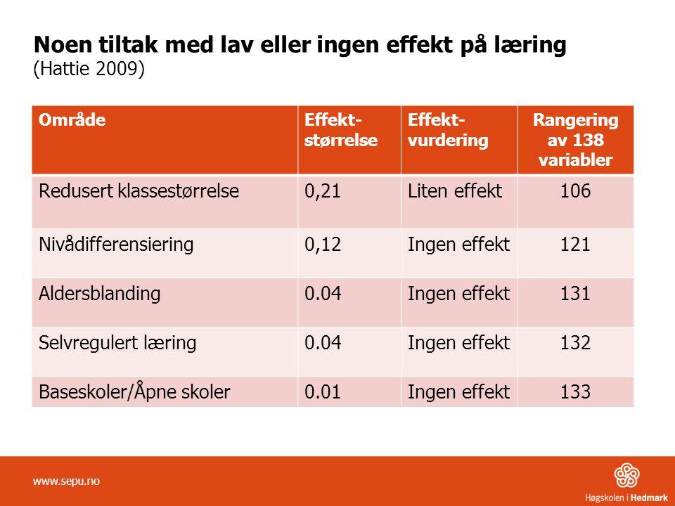 Noen tiltak med lav eller ingen effekt på læring (Hattie 2009)
