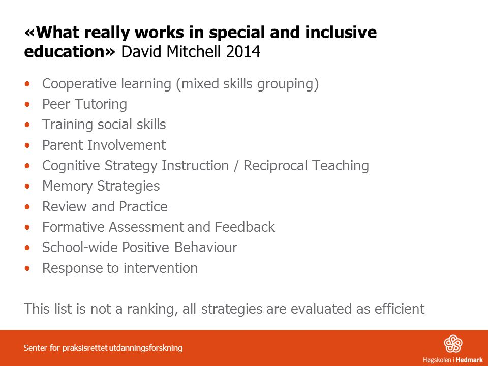 «What really works in special and inclusive education» David Mitchell 2014