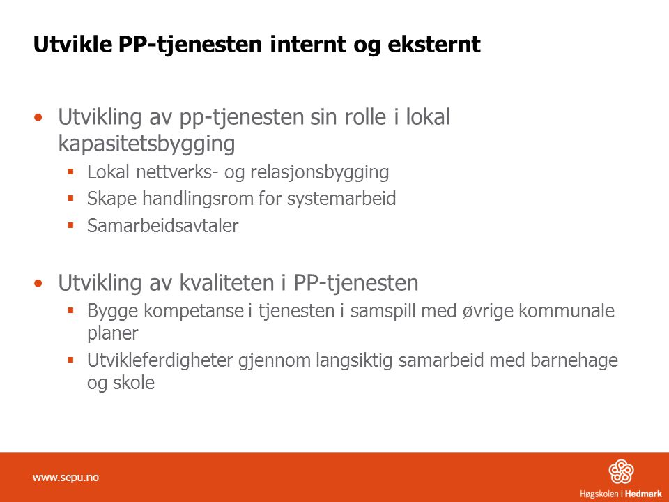 Utvikle PP-tjenesten internt og eksternt