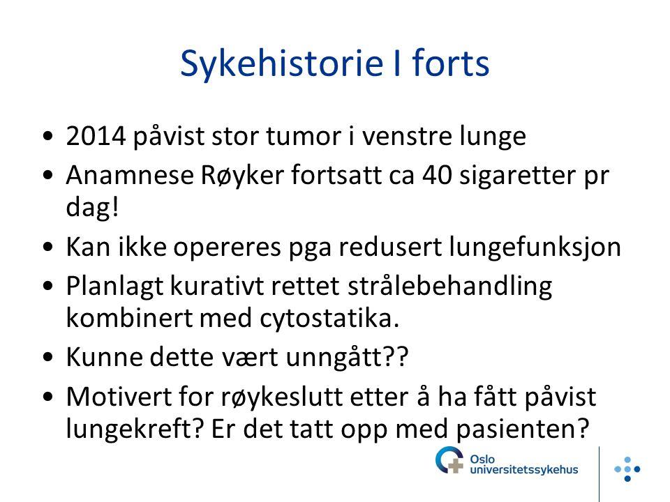 Sykehistorie I forts 2014 påvist stor tumor i venstre lunge