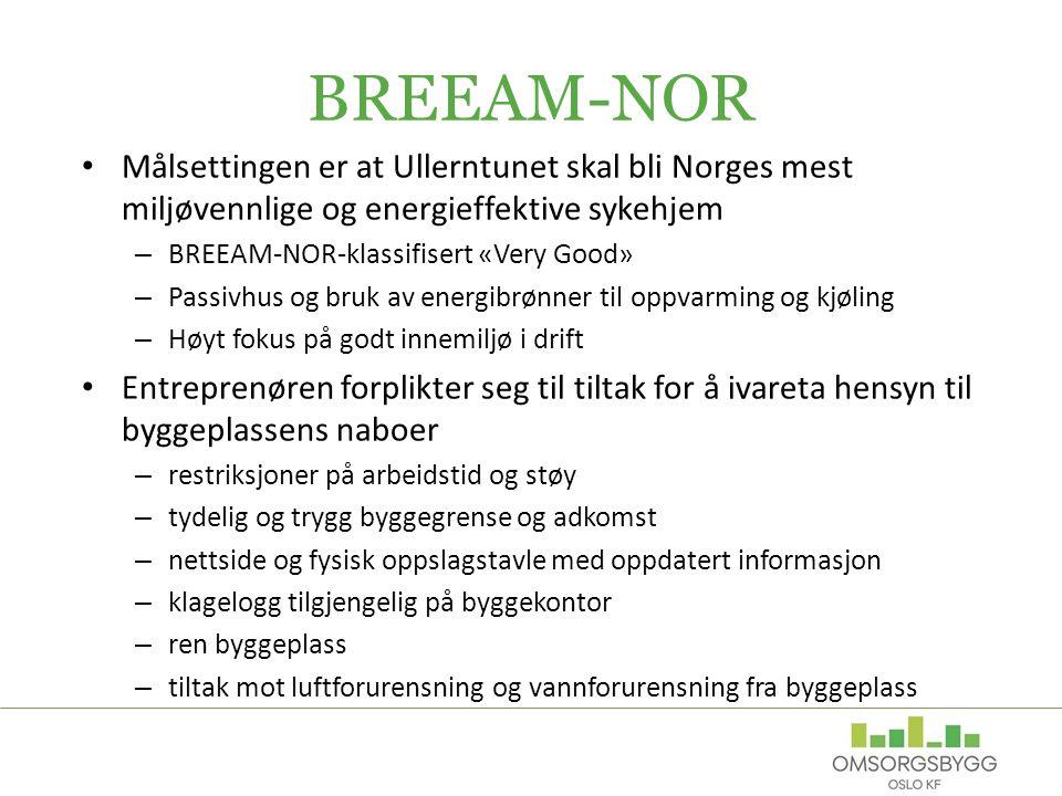 BREEAM-NOR Målsettingen er at Ullerntunet skal bli Norges mest miljøvennlige og energieffektive sykehjem.
