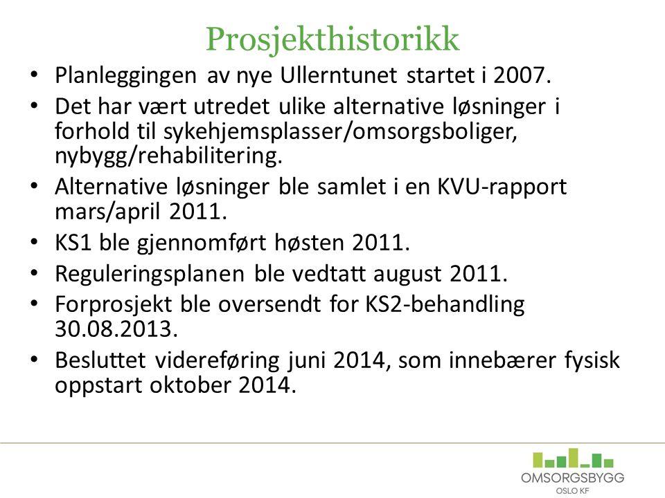 Prosjekthistorikk Planleggingen av nye Ullerntunet startet i 2007.