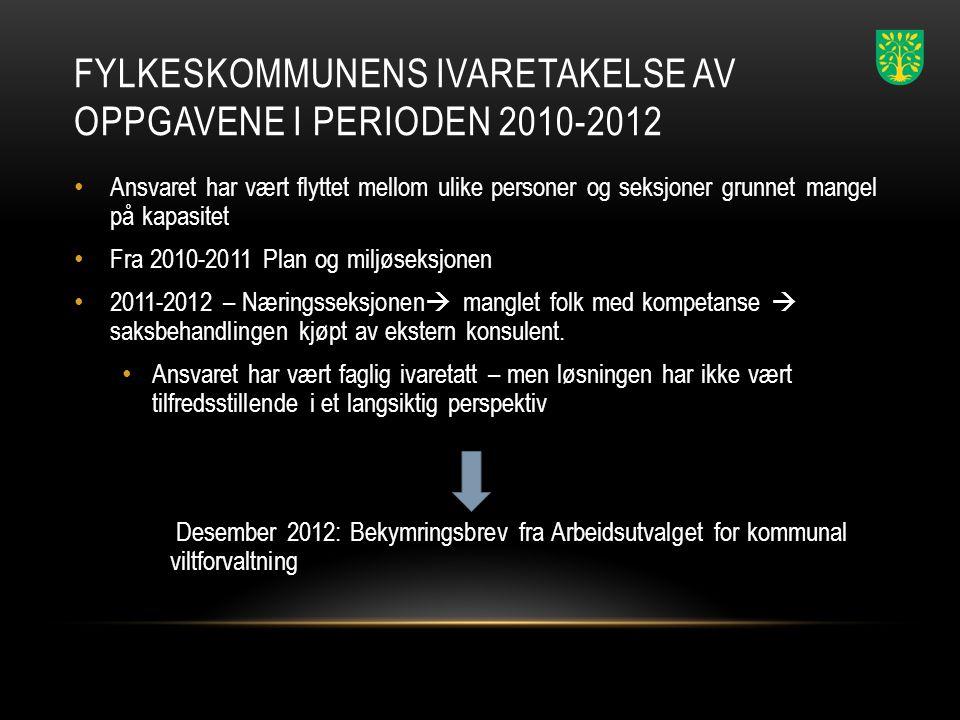 Fylkeskommunens ivaretakelse av oppgavene i perioden 2010-2012