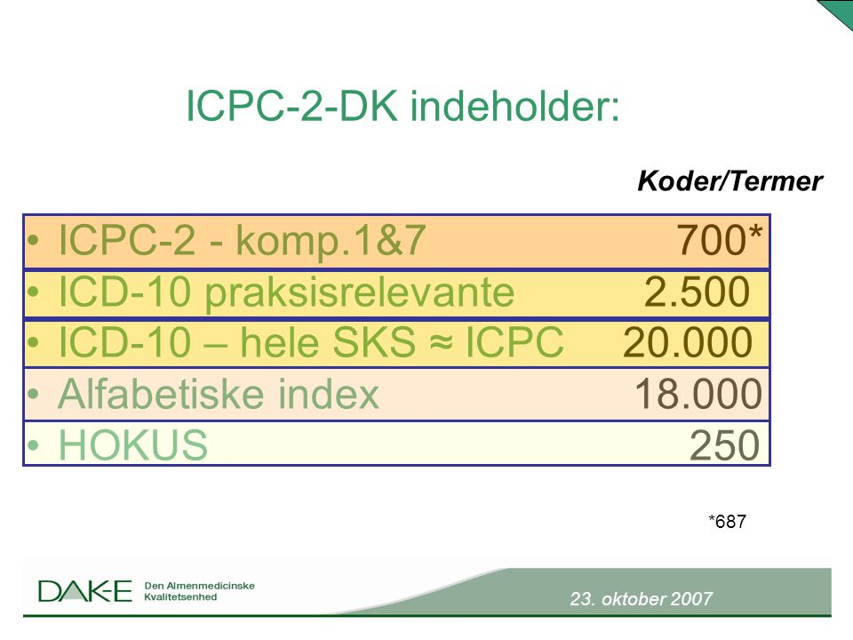 ICD-10 praksisrelevante 2.500 ICD-10 – hele SKS ≈ ICPC 20.000