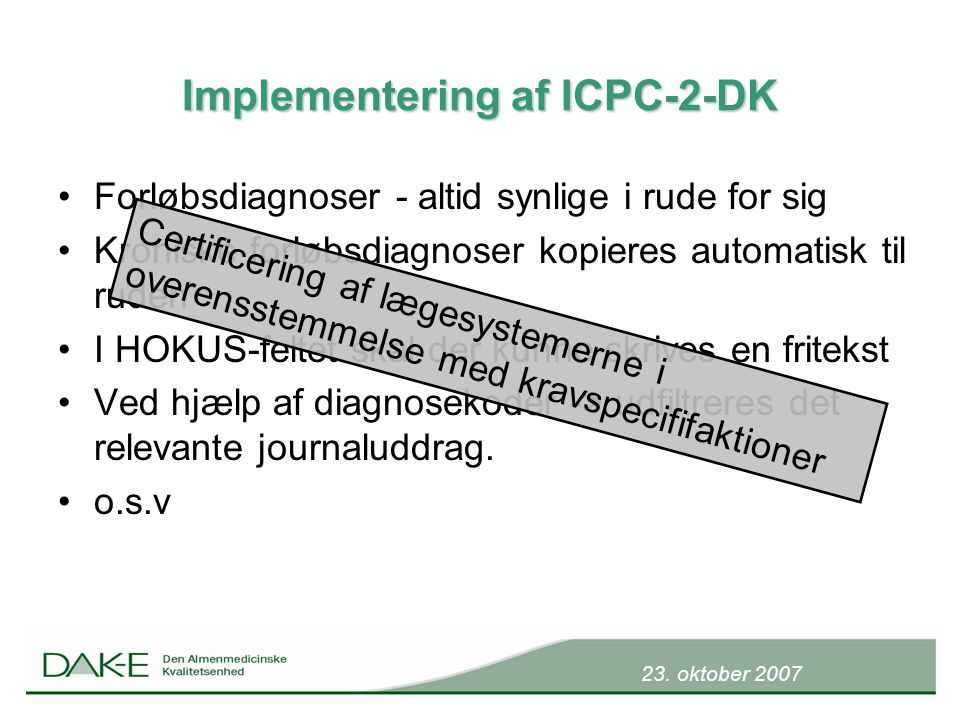 Implementering af ICPC-2-DK