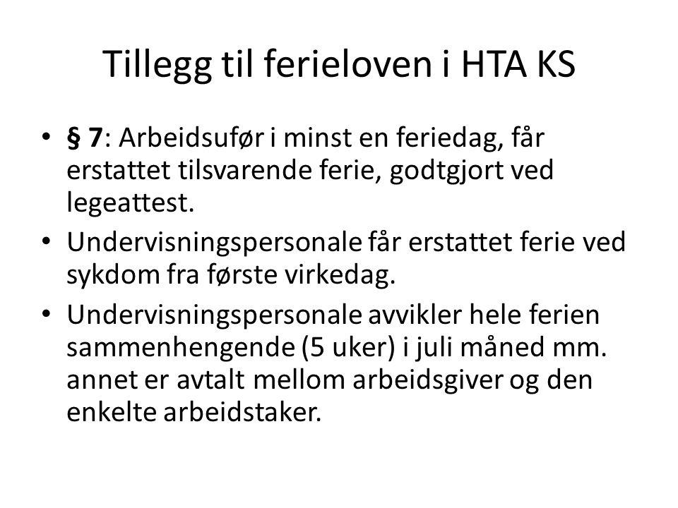 Tillegg til ferieloven i HTA KS