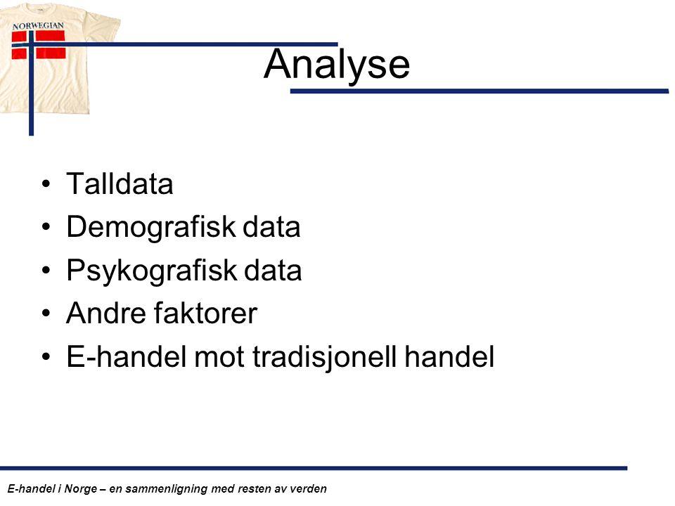 Analyse Talldata Demografisk data Psykografisk data Andre faktorer