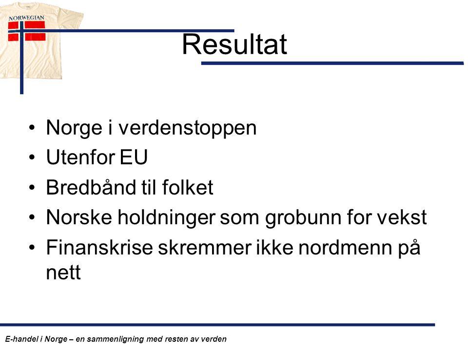 Resultat Norge i verdenstoppen Utenfor EU Bredbånd til folket