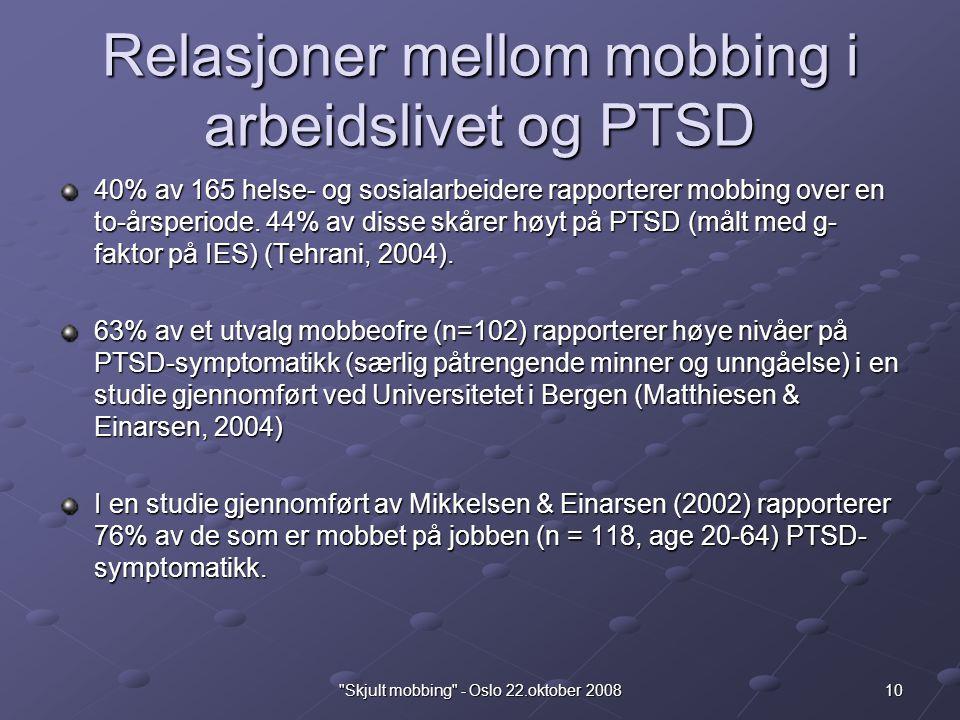 Relasjoner mellom mobbing i arbeidslivet og PTSD