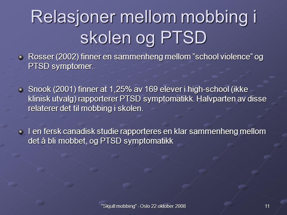 Relasjoner mellom mobbing i skolen og PTSD