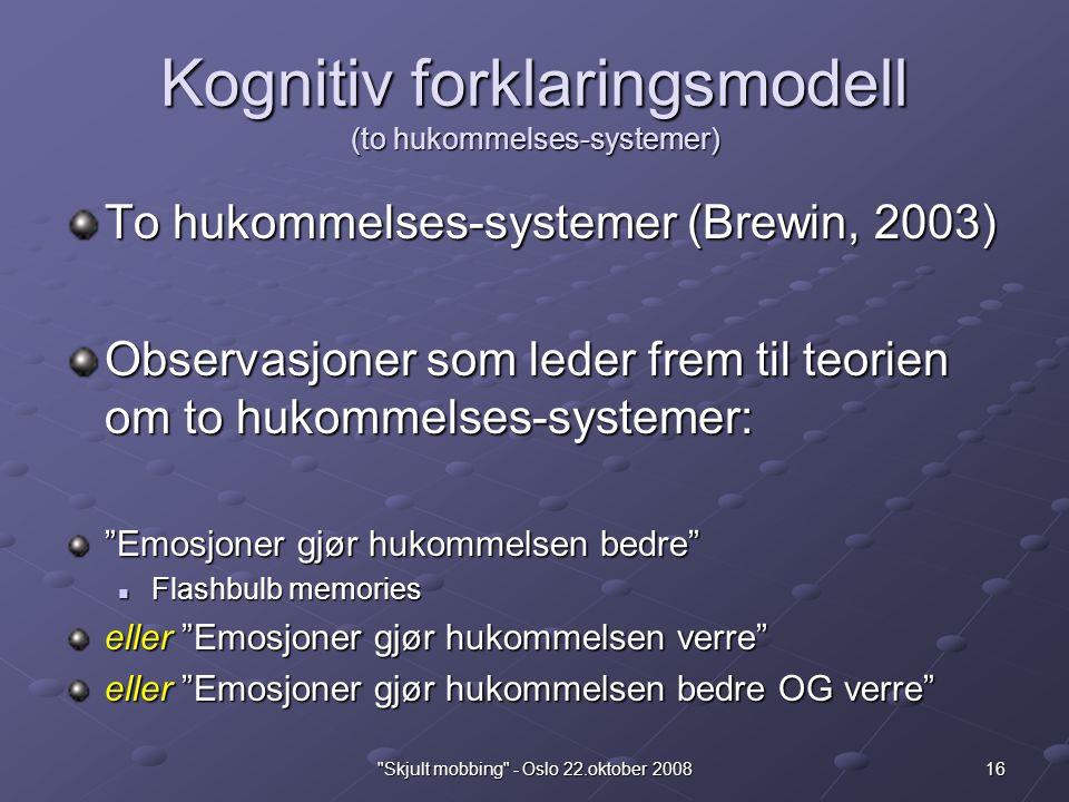 Kognitiv forklaringsmodell (to hukommelses-systemer)