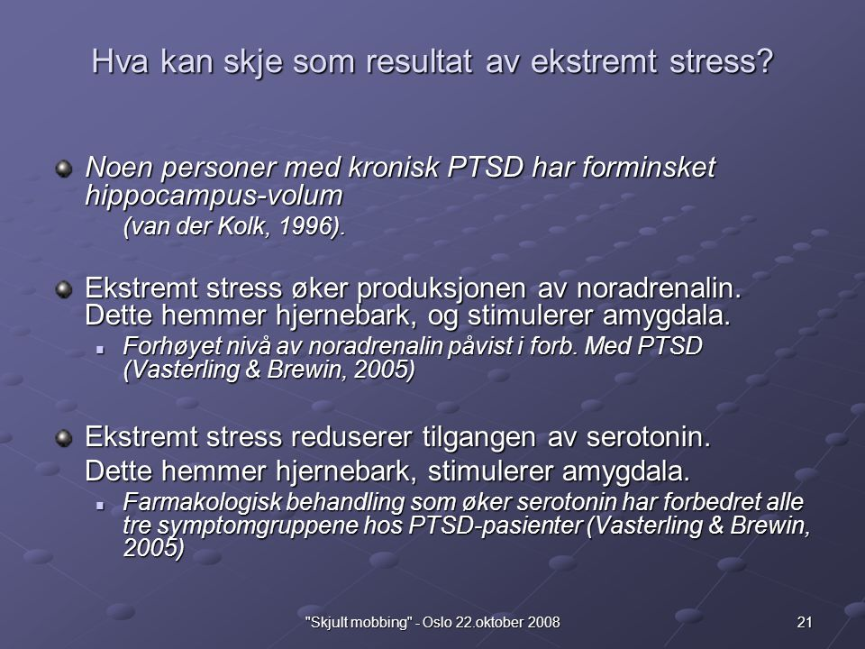 Hva kan skje som resultat av ekstremt stress