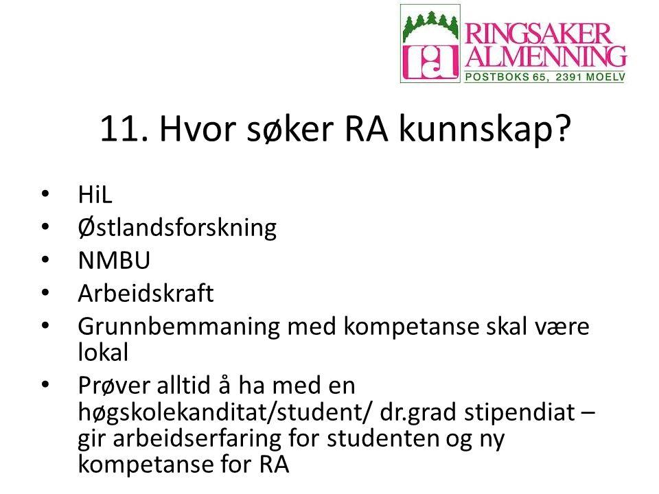 11. Hvor søker RA kunnskap HiL Østlandsforskning NMBU Arbeidskraft