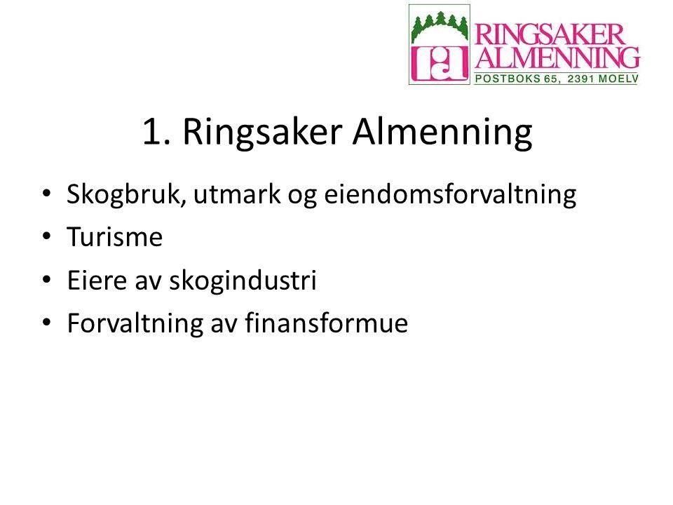 1. Ringsaker Almenning Skogbruk, utmark og eiendomsforvaltning Turisme