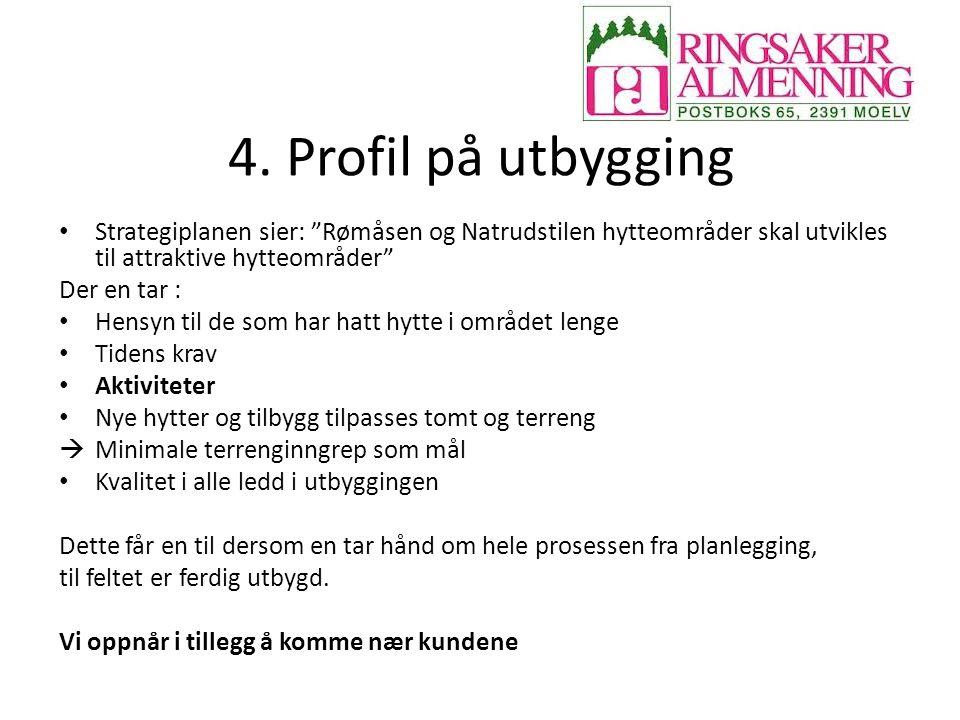 4. Profil på utbygging Strategiplanen sier: Rømåsen og Natrudstilen hytteområder skal utvikles til attraktive hytteområder