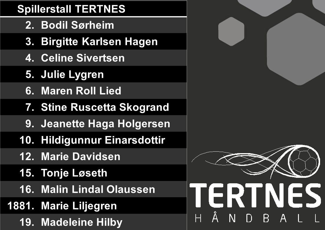 Spillerstall TERTNES 2. Bodil Sørheim. 3. Birgitte Karlsen Hagen. 4. Celine Sivertsen. 5. Julie Lygren.