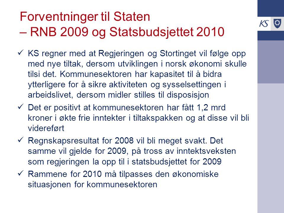 Forventninger til Staten – RNB 2009 og Statsbudsjettet 2010