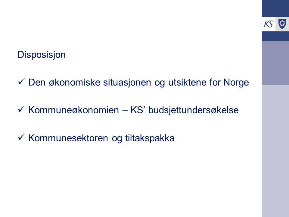 Disposisjon Den økonomiske situasjonen og utsiktene for Norge. Kommuneøkonomien – KS' budsjettundersøkelse.