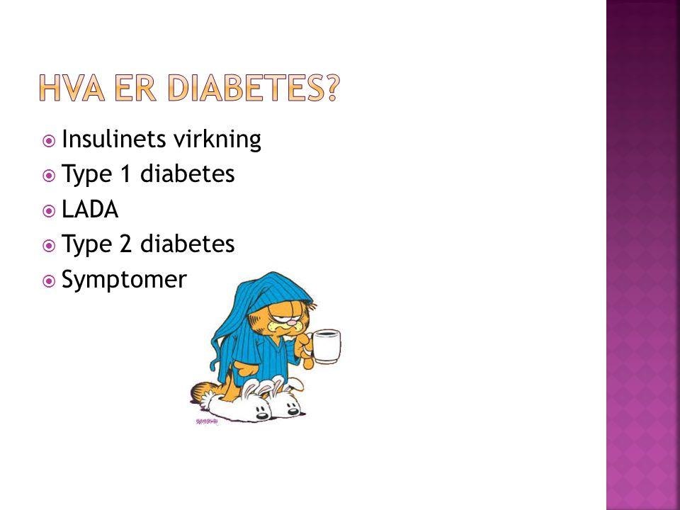 HVA ER DIABETES Insulinets virkning Type 1 diabetes LADA