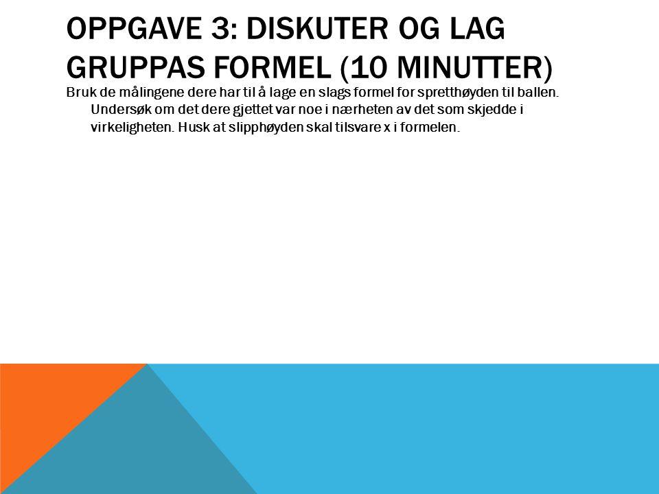 Oppgave 3: Diskuter og lag gruppas formel (10 minutter)