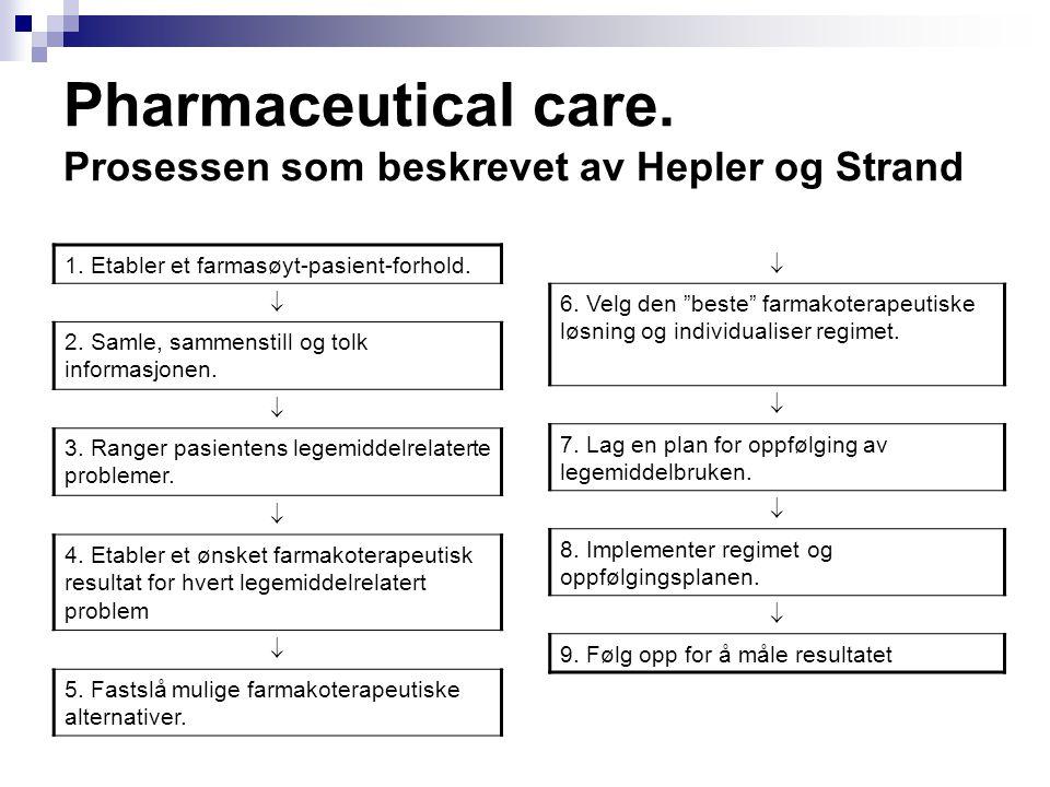 Pharmaceutical care. Prosessen som beskrevet av Hepler og Strand