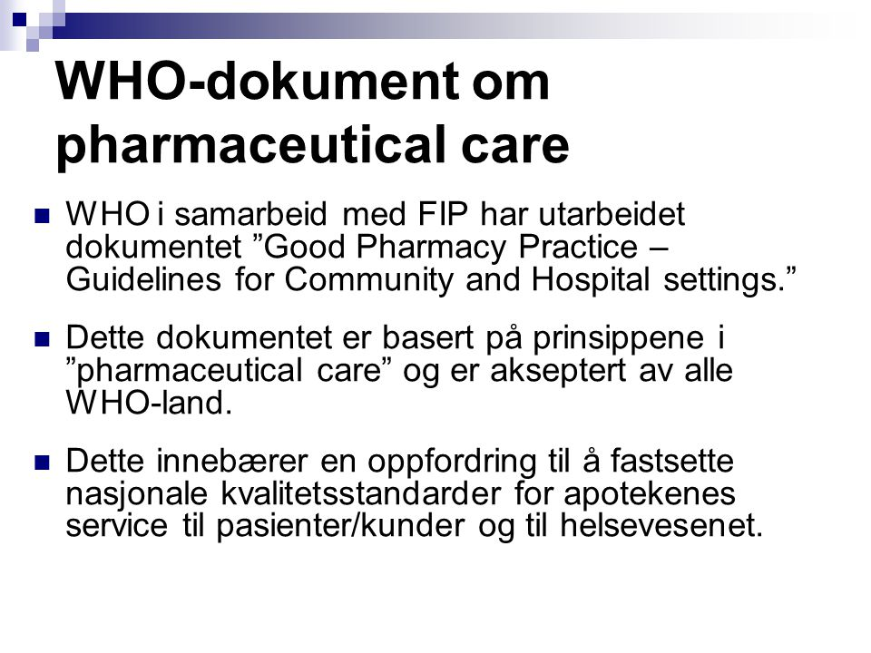 WHO-dokument om pharmaceutical care