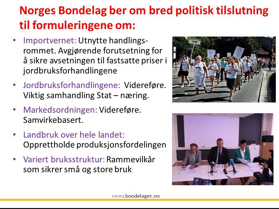 10.09.2004 Norges Bondelag ber om bred politisk tilslutning til formuleringene om: