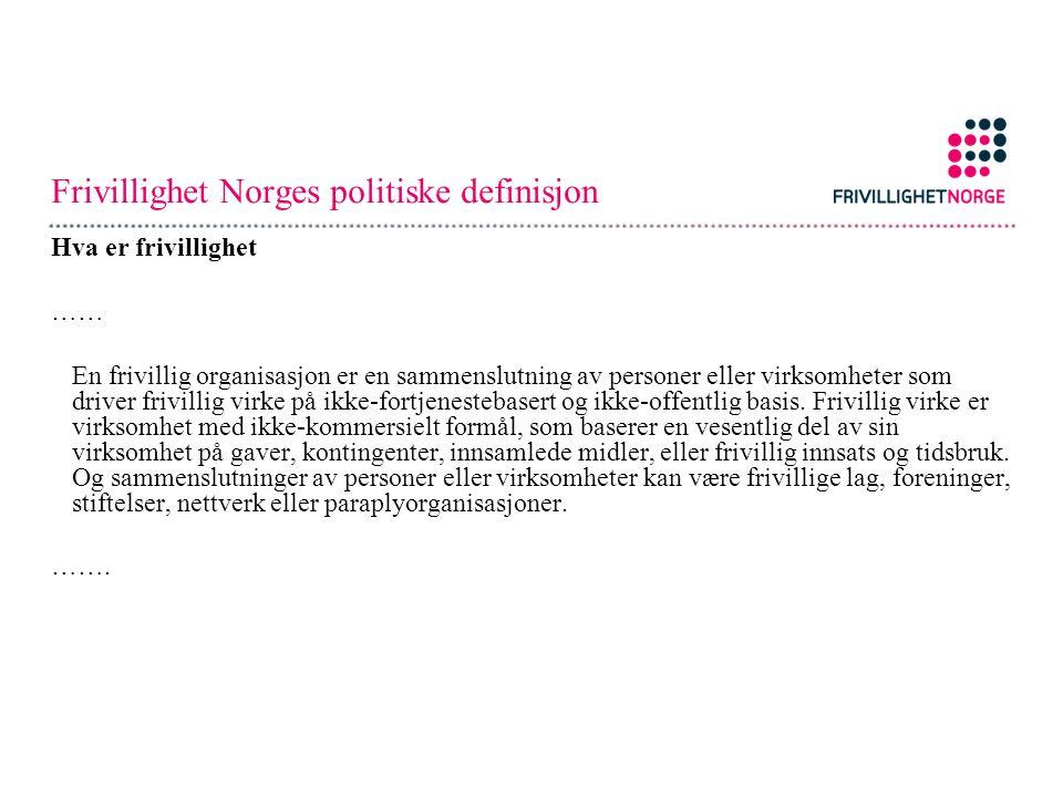 Frivillighet Norges politiske definisjon