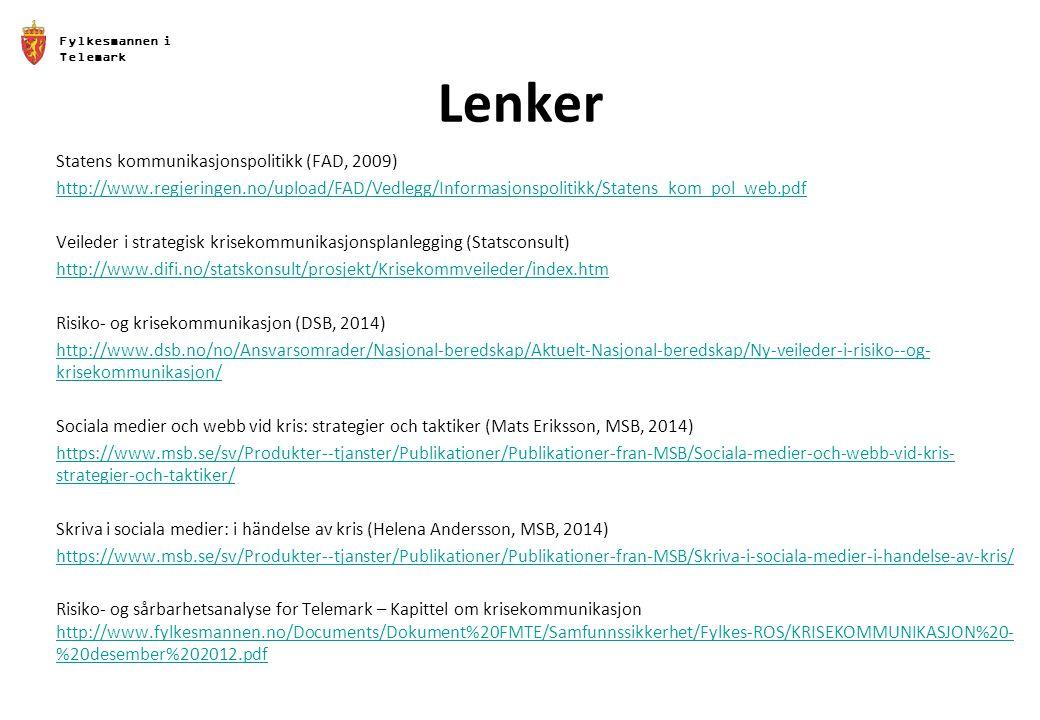Lenker Statens kommunikasjonspolitikk (FAD, 2009)