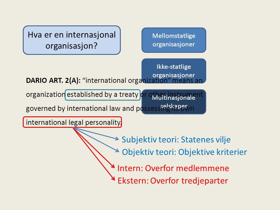 Hva er en internasjonal organisasjon