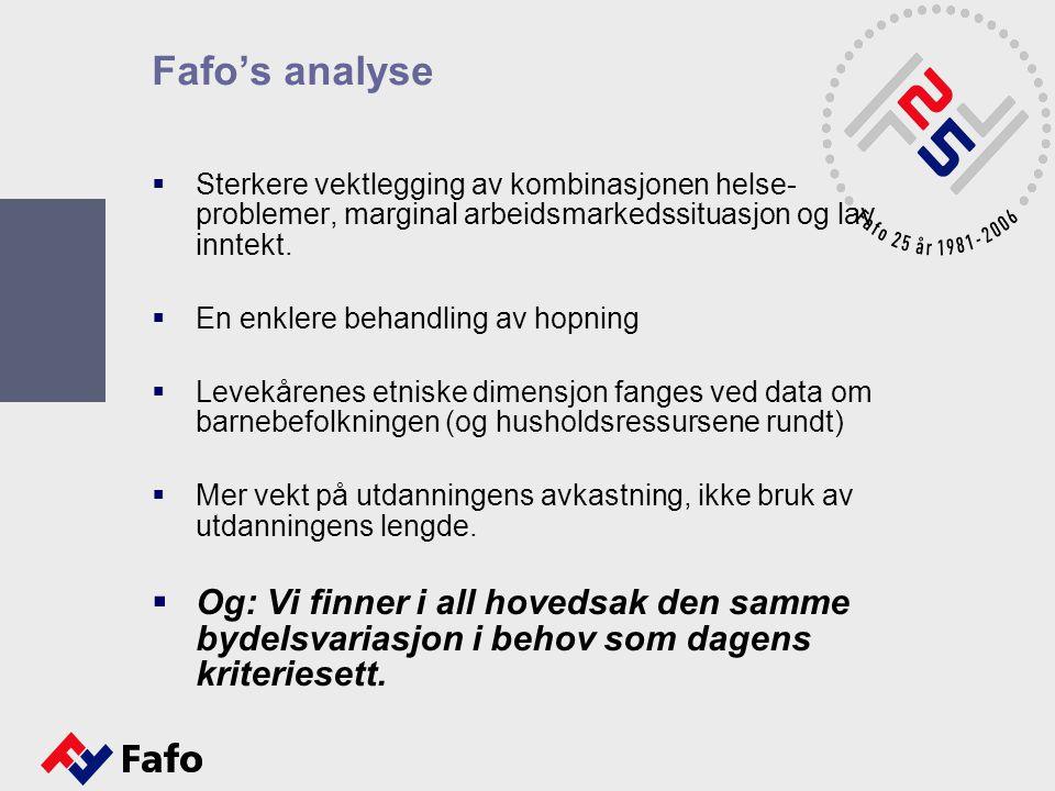 Fafo's analyse Sterkere vektlegging av kombinasjonen helse- problemer, marginal arbeidsmarkedssituasjon og lav inntekt.