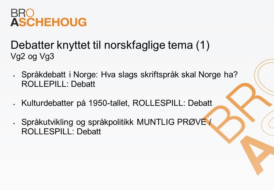 Debatter knyttet til norskfaglige tema (1) Vg2 og Vg3