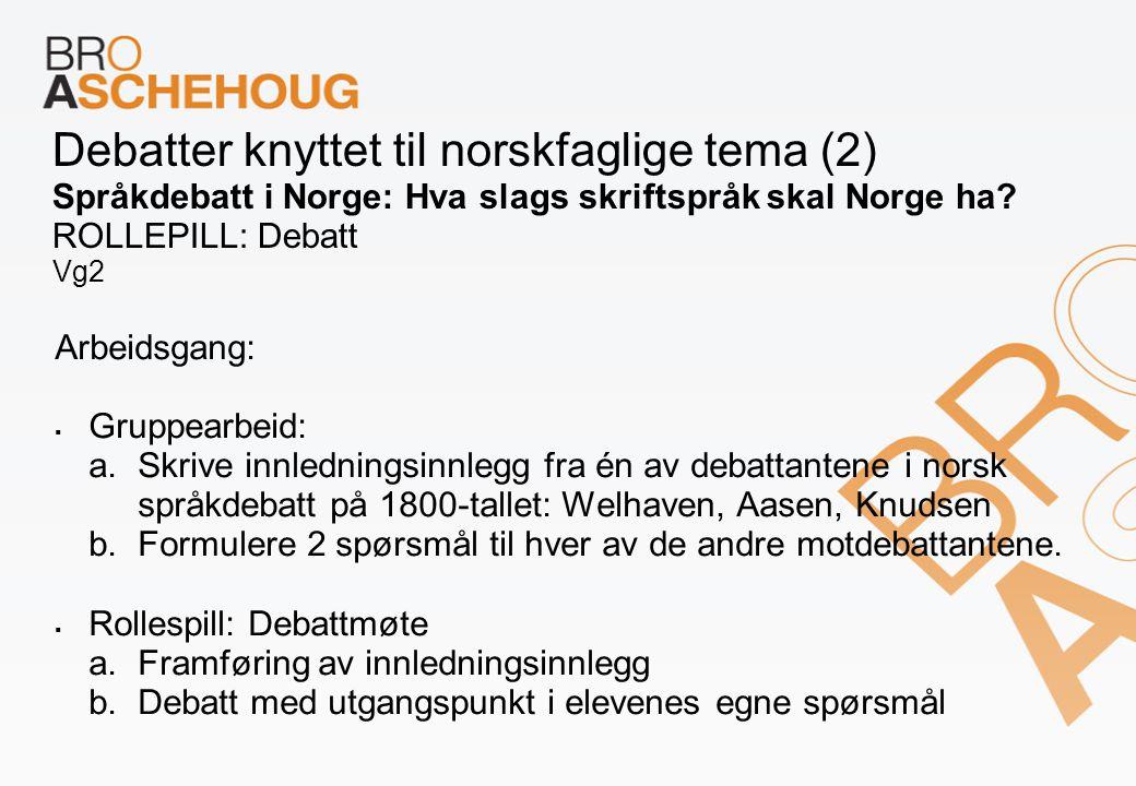 Debatter knyttet til norskfaglige tema (2) Språkdebatt i Norge: Hva slags skriftspråk skal Norge ha ROLLEPILL: Debatt Vg2