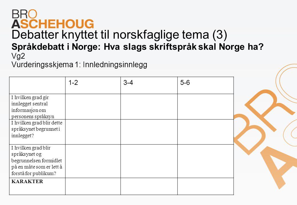 Debatter knyttet til norskfaglige tema (3) Språkdebatt i Norge: Hva slags skriftspråk skal Norge ha Vg2 Vurderingsskjema 1: Innledningsinnlegg
