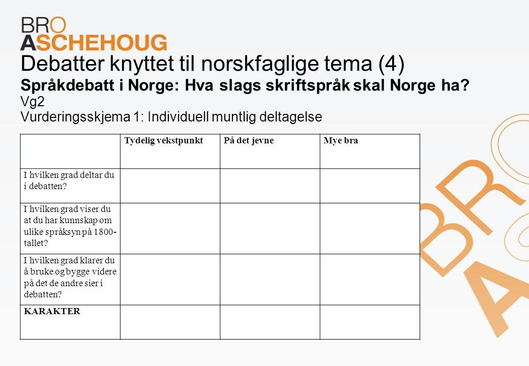 Debatter knyttet til norskfaglige tema (4) Språkdebatt i Norge: Hva slags skriftspråk skal Norge ha Vg2 Vurderingsskjema 1: Individuell muntlig deltagelse