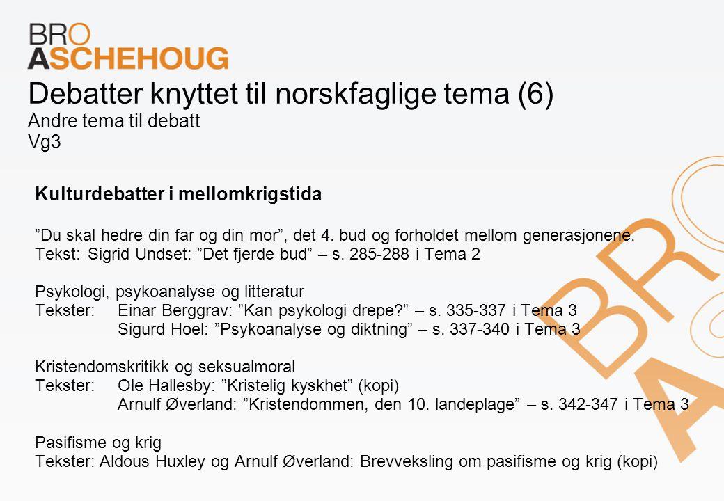 Debatter knyttet til norskfaglige tema (6) Andre tema til debatt Vg3