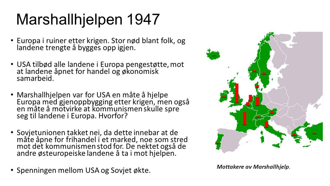 Marshallhjelpen 1947 Europa i ruiner etter krigen. Stor nød blant folk, og landene trengte å bygges opp igjen.