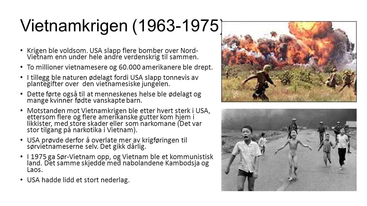 Vietnamkrigen (1963-1975) Krigen ble voldsom. USA slapp flere bomber over Nord- Vietnam enn under hele andre verdenskrig til sammen.