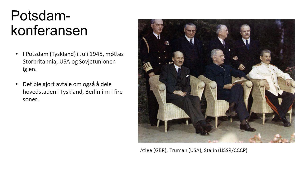 Potsdam-konferansen I Potsdam (Tyskland) i Juli 1945, møttes Storbritannia, USA og Sovjetunionen igjen.