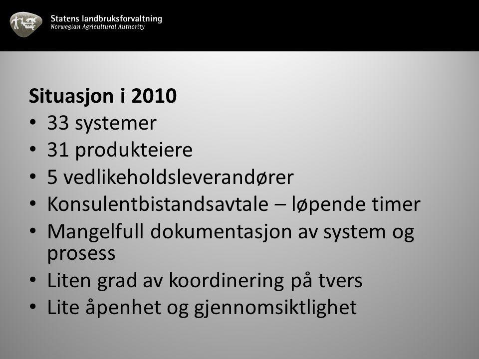 Situasjon i 2010 33 systemer. 31 produkteiere. 5 vedlikeholdsleverandører. Konsulentbistandsavtale – løpende timer.