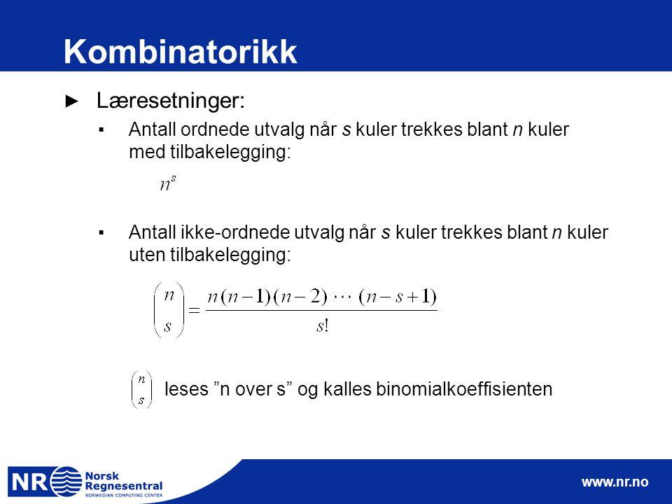 Kombinatorikk Læresetninger: