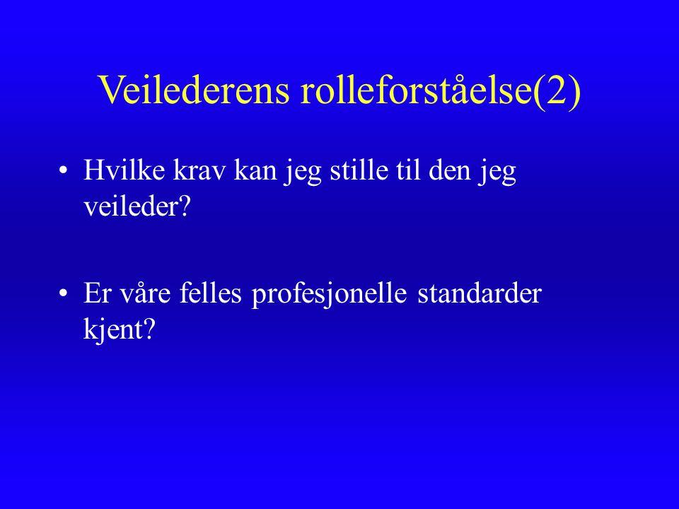 Veilederens rolleforståelse(2)