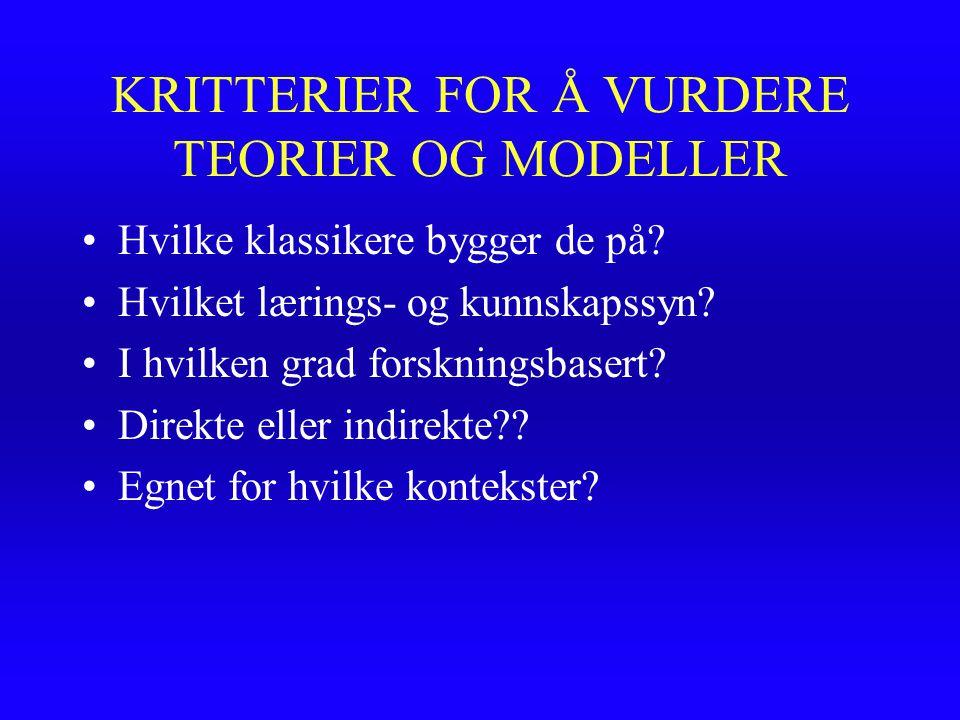 KRITTERIER FOR Å VURDERE TEORIER OG MODELLER