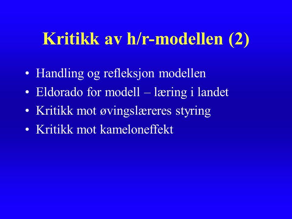 Kritikk av h/r-modellen (2)