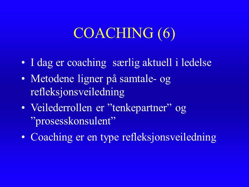 COACHING (6) I dag er coaching særlig aktuell i ledelse