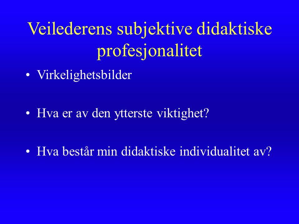 Veilederens subjektive didaktiske profesjonalitet