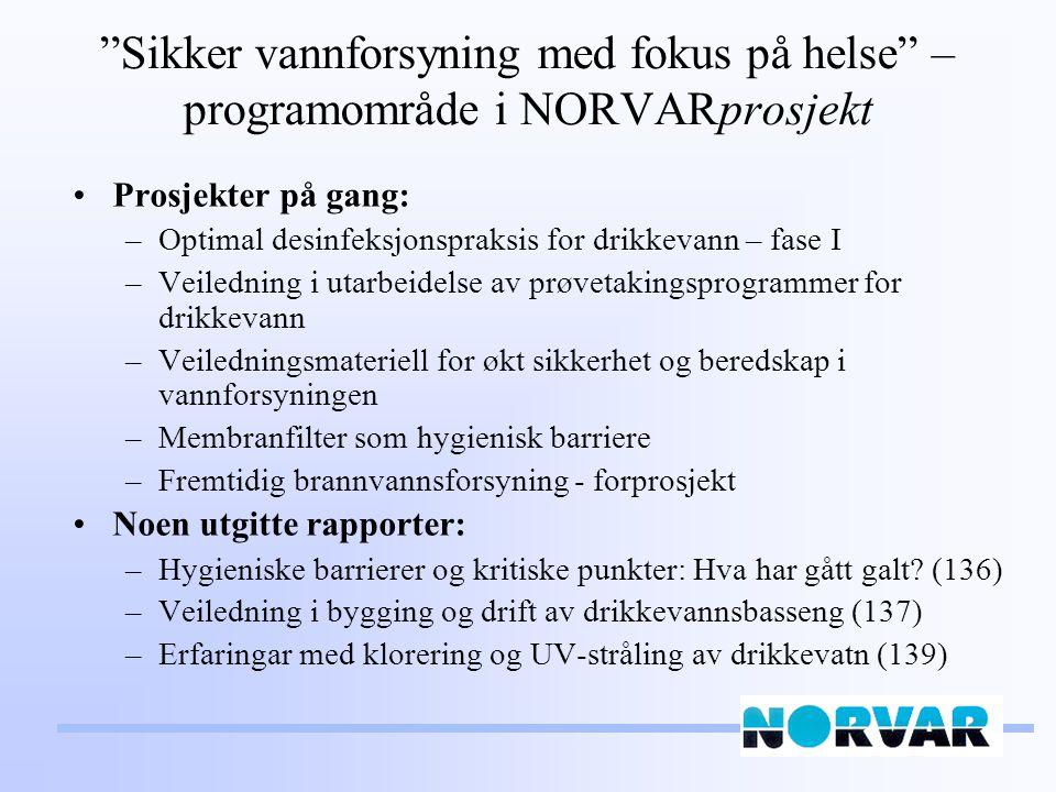 Sikker vannforsyning med fokus på helse – programområde i NORVARprosjekt