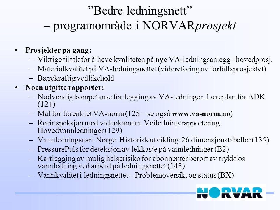 Bedre ledningsnett – programområde i NORVARprosjekt