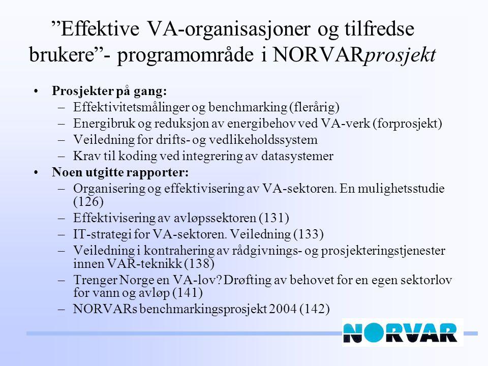 Effektive VA-organisasjoner og tilfredse brukere - programområde i NORVARprosjekt